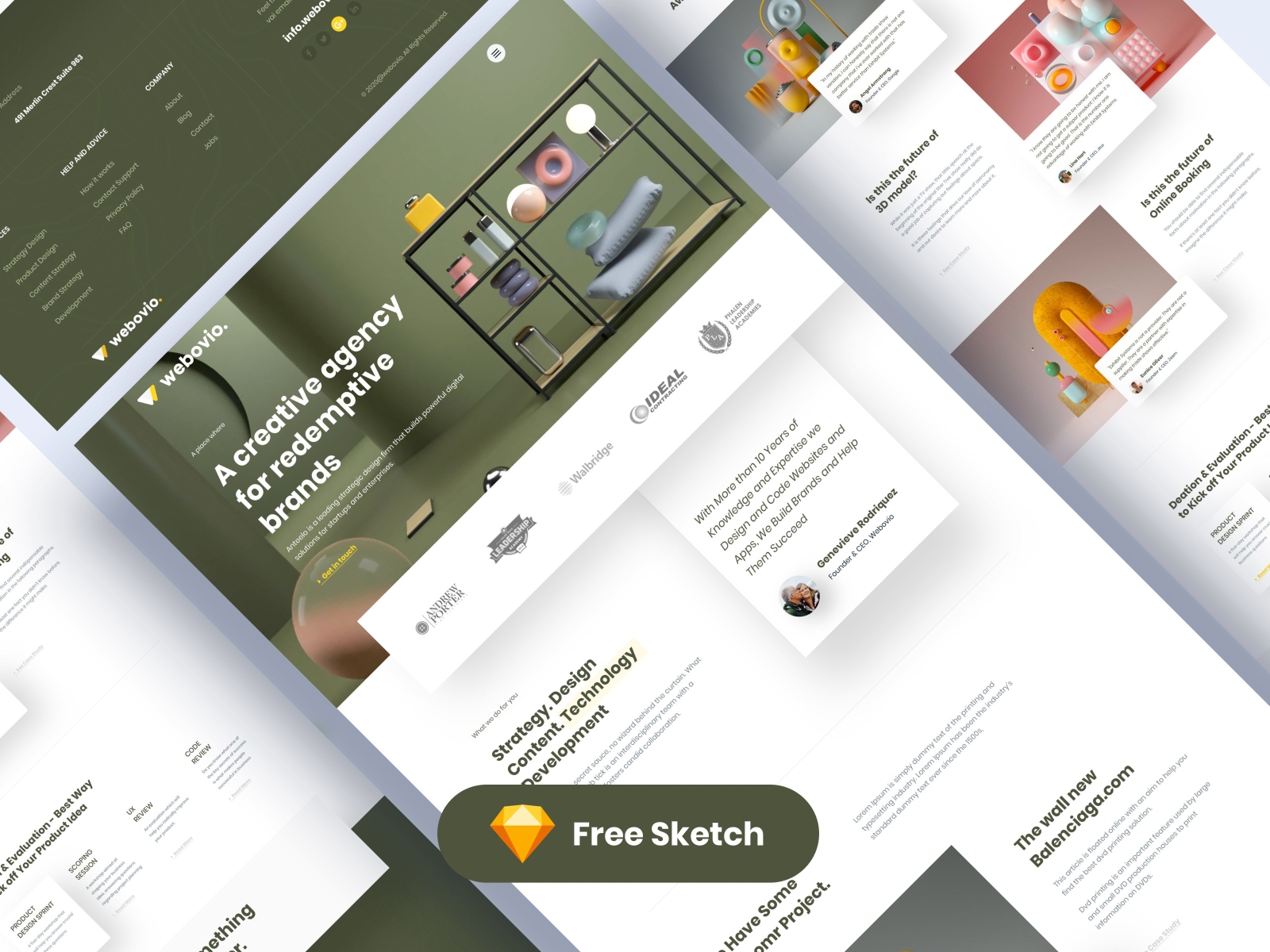Creative Agency Free Website Template for Sketch