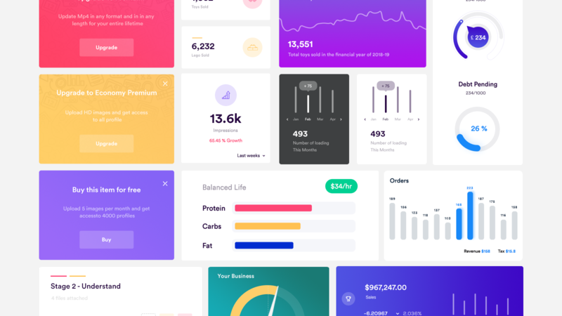 Dashboard Elements UI Kit – Free PSD