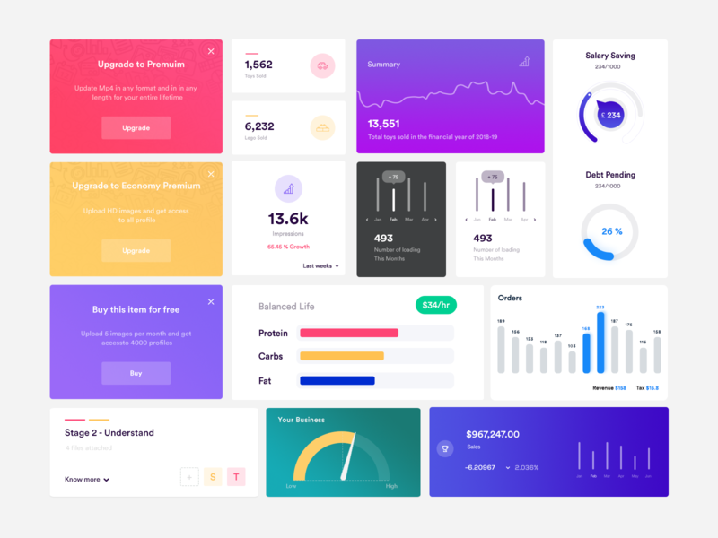 Dashboard Elements UI Kit – Free PSD