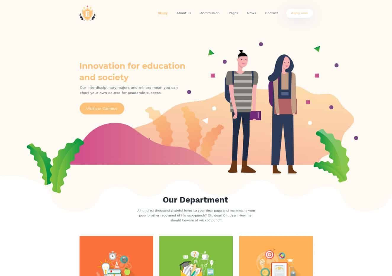 Education School & LMS - Free Website PSD Template