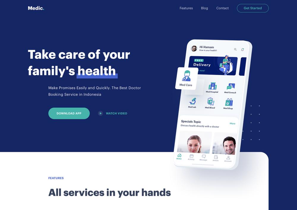 Free Medical Sketch Website Template