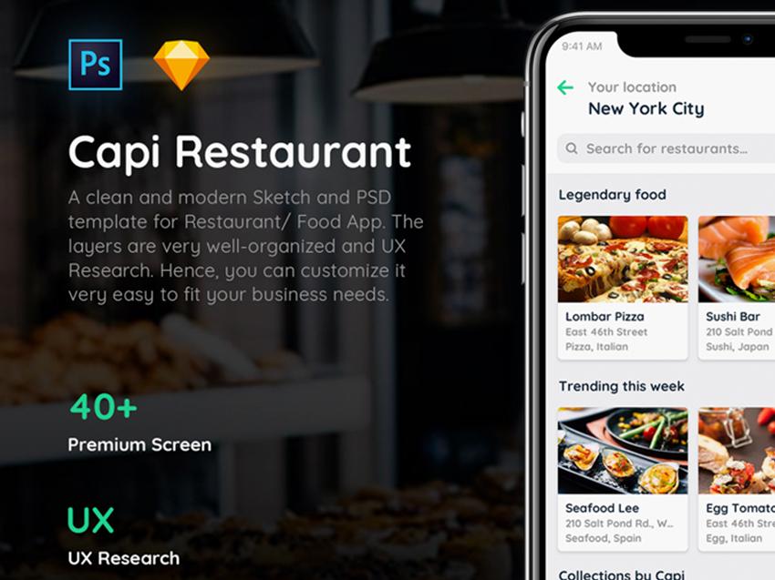 Freebie Restaurant iOS UI Kit PSD Templates