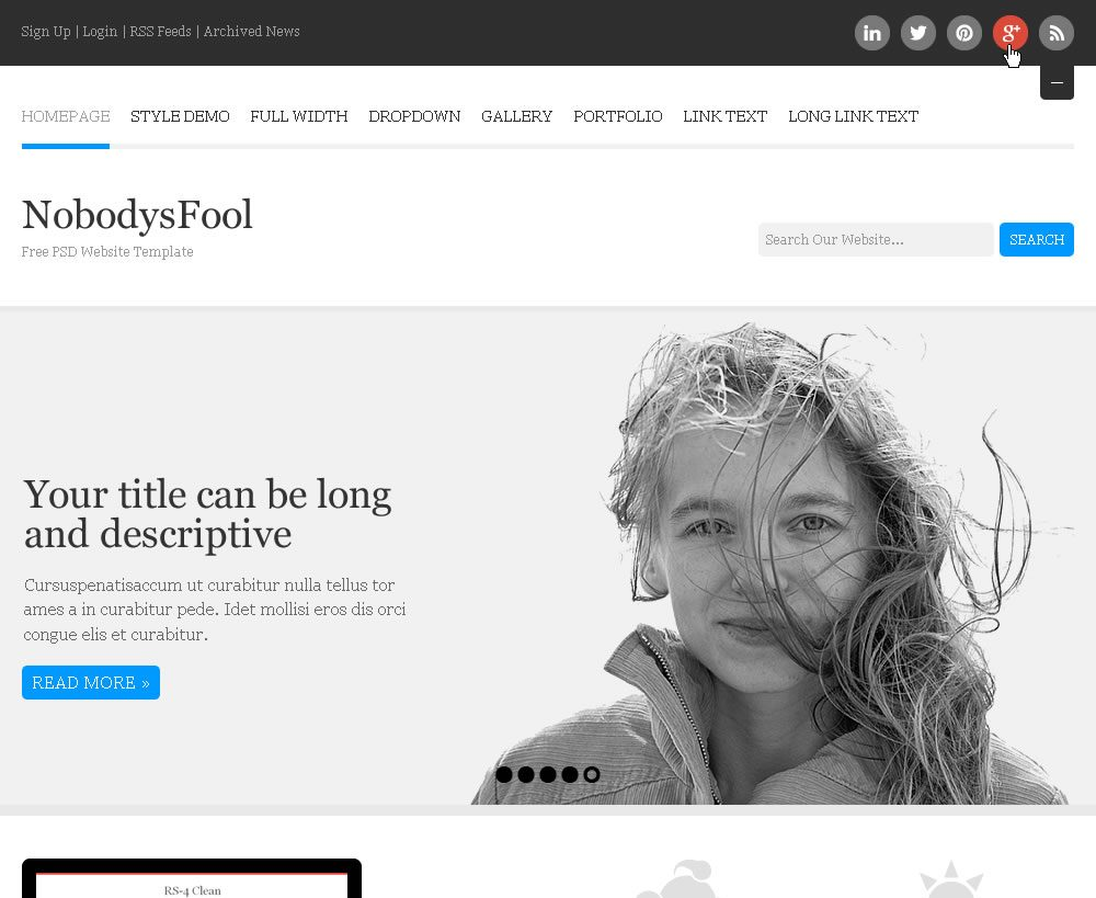 NobodysFool PSD Website Free Template
