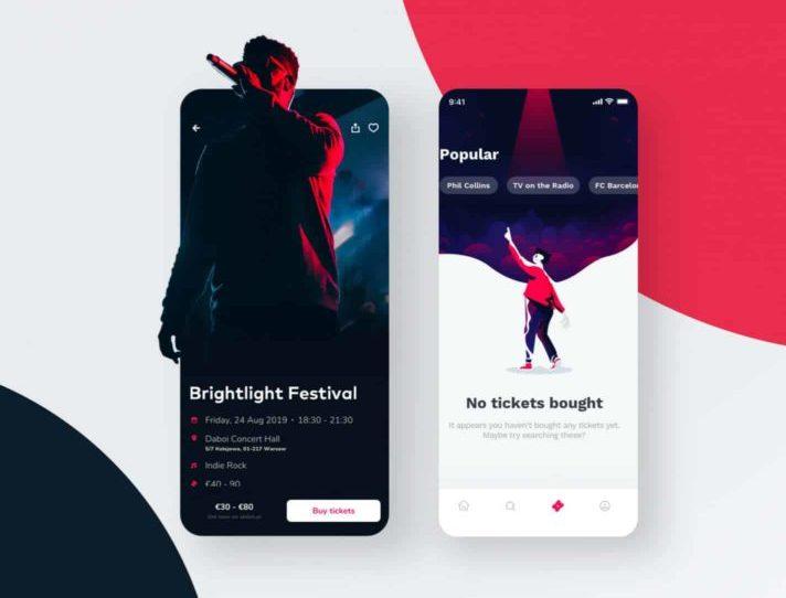 Ticketapp - Free UI Figma & Sketch Template