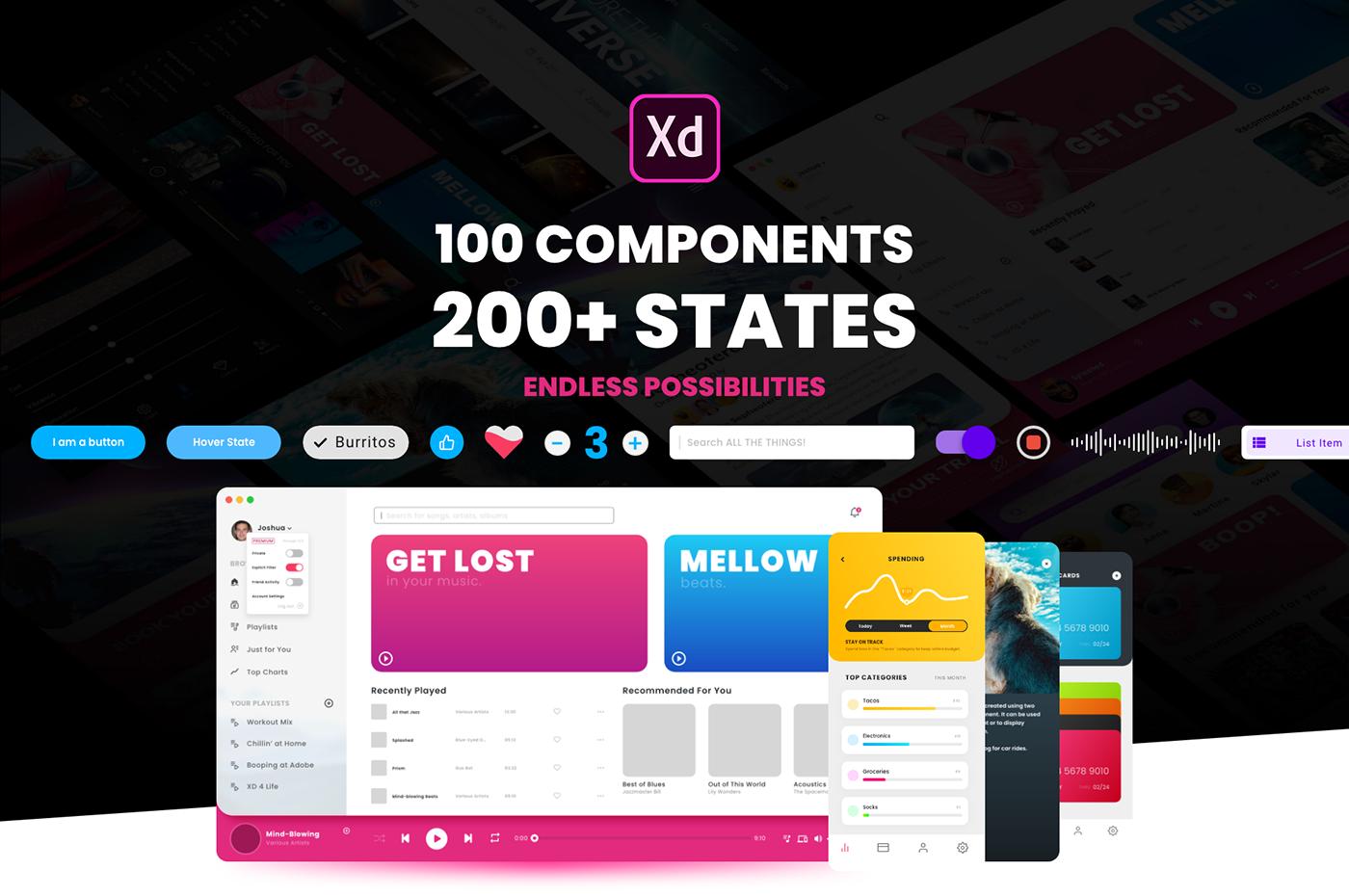 200+ Free Component States XD UI kit