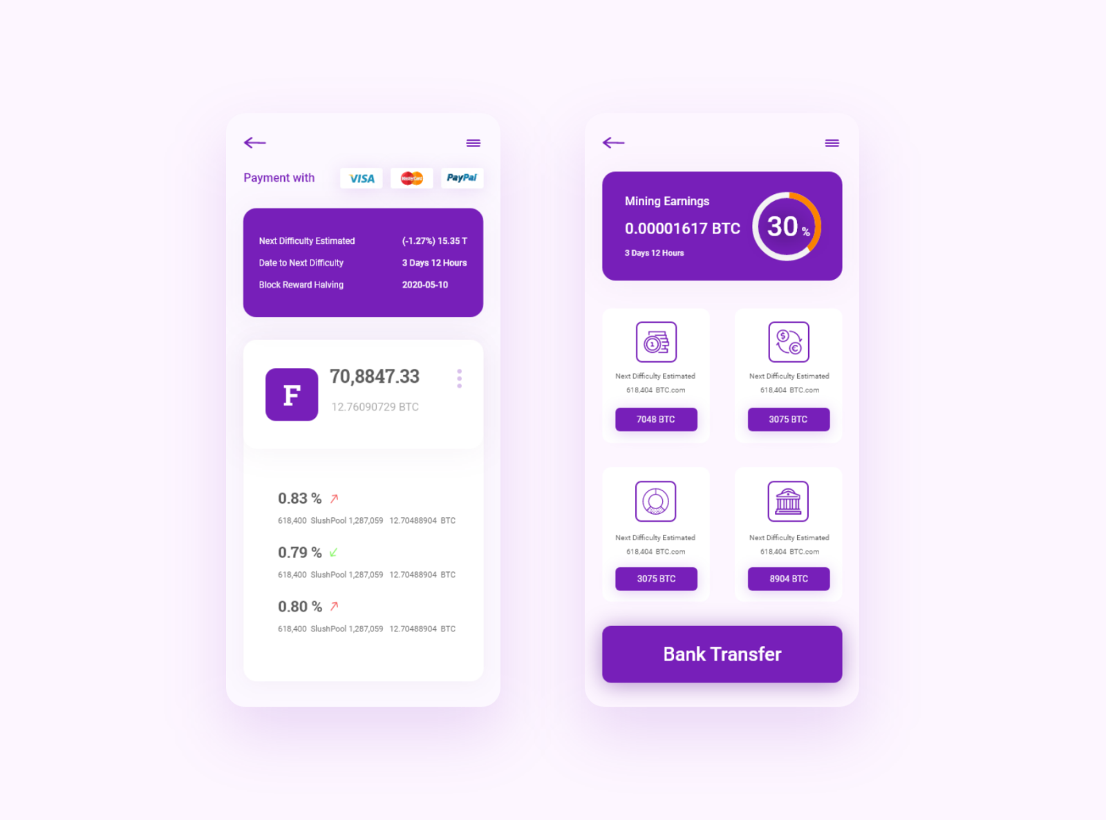 BTC Wallet App Free XD UI Design