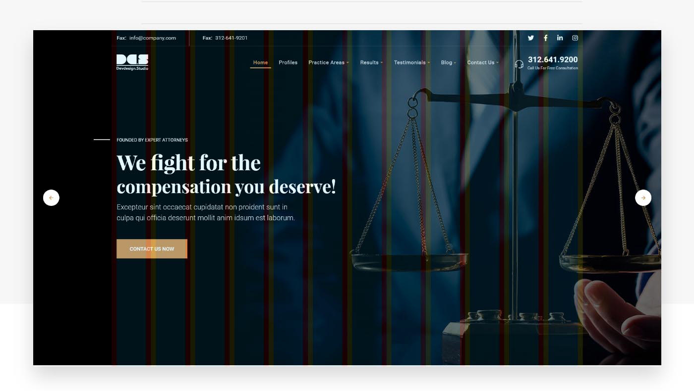 Dev Law Firm Landing Page Free XD Web Template