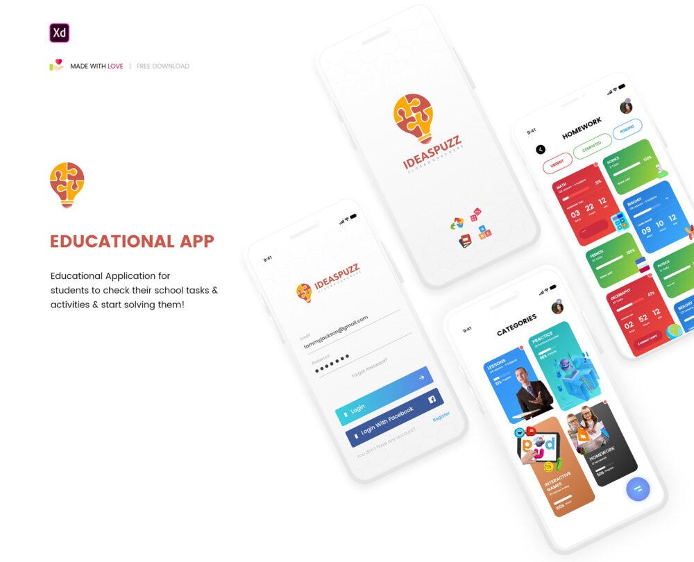 Educational App Free XD Template