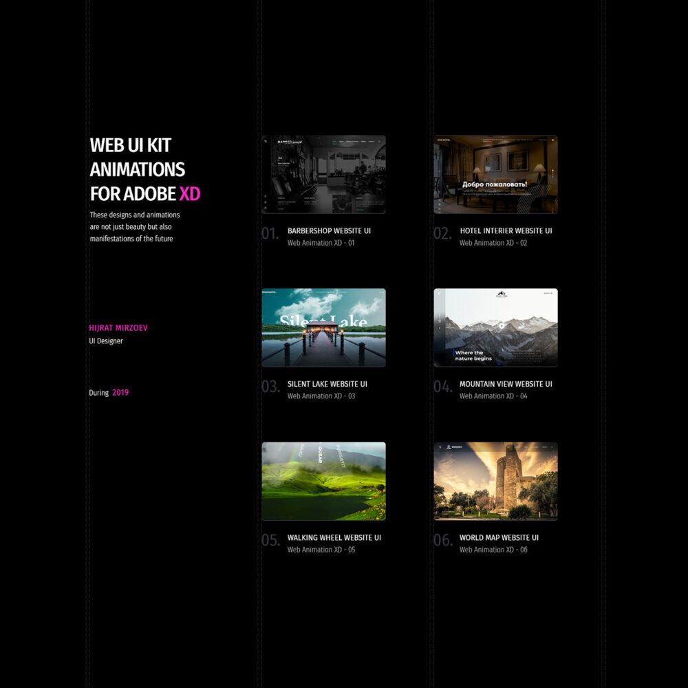 Free Animated Web & UI Kit XD Templates