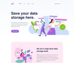 Free Data Warehouse Web Landing Page for Figma