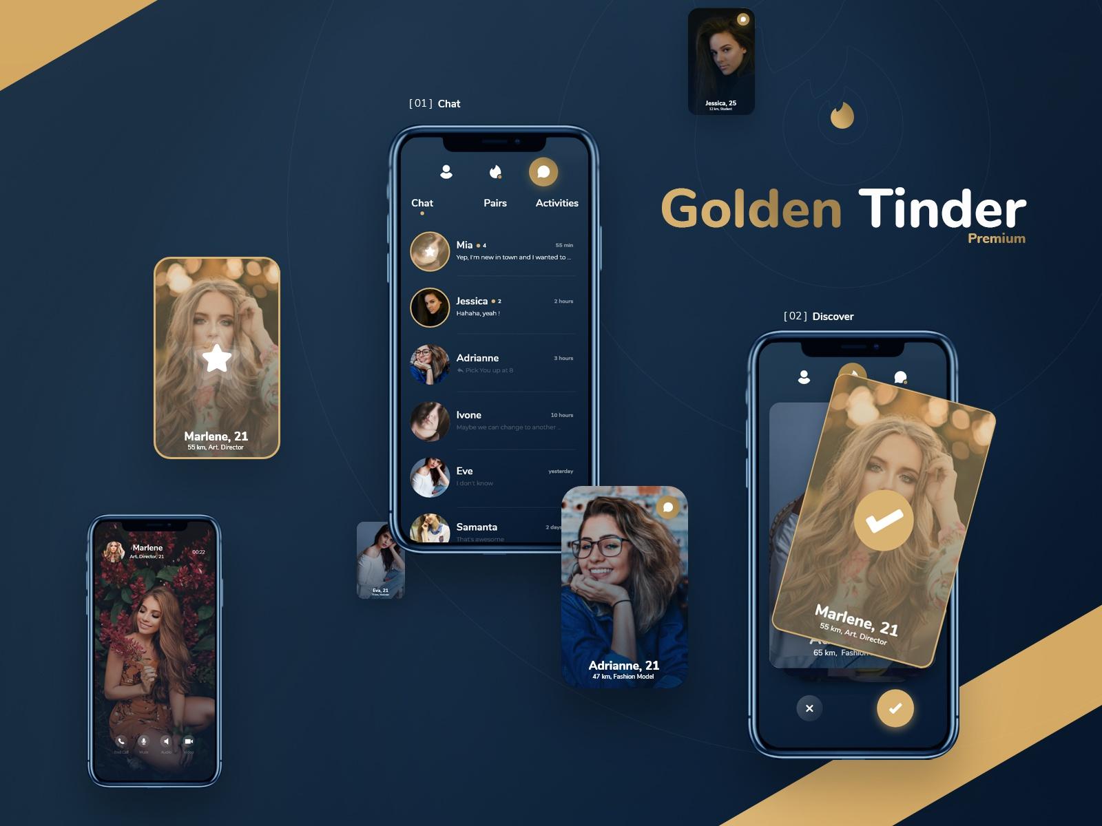 Golden Tinder Dating App Redesign Free UI Xd File