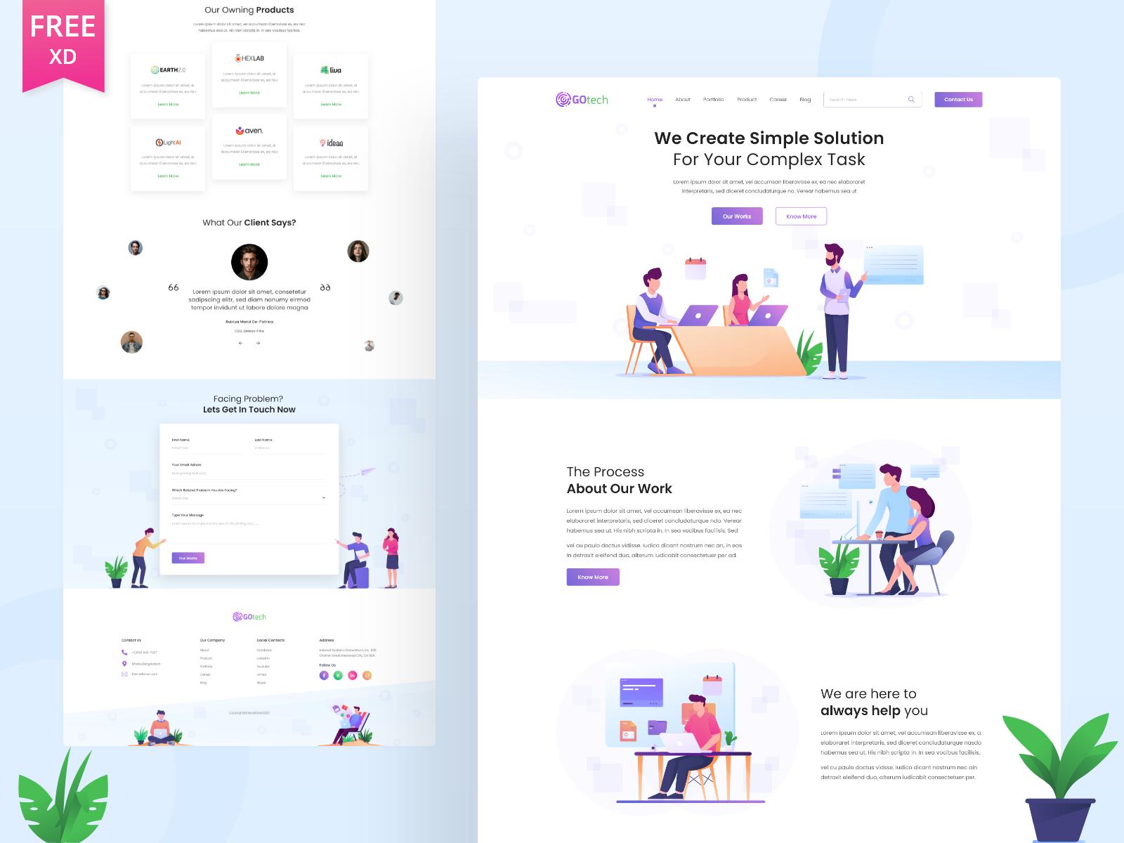 Gotech - Startup Website Free XD Template