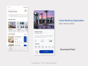 Hotel Booking Neomorphic Free App Concept