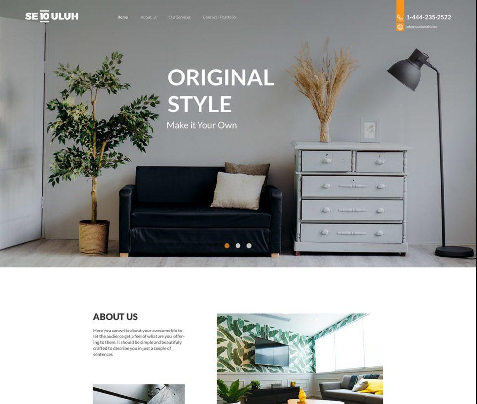 Interior Design Free Web PSD Template
