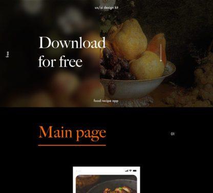 Recipes Food Free UX/UI kit for Adobe XD