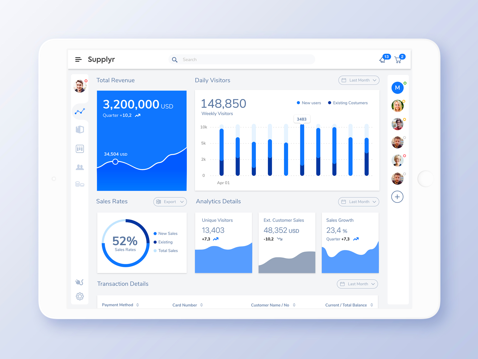 Sales & Financial Transactions Dashboard Free UI XD