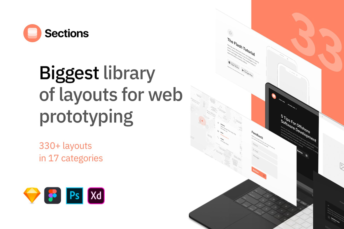Sections Wireframe Free UI Kit