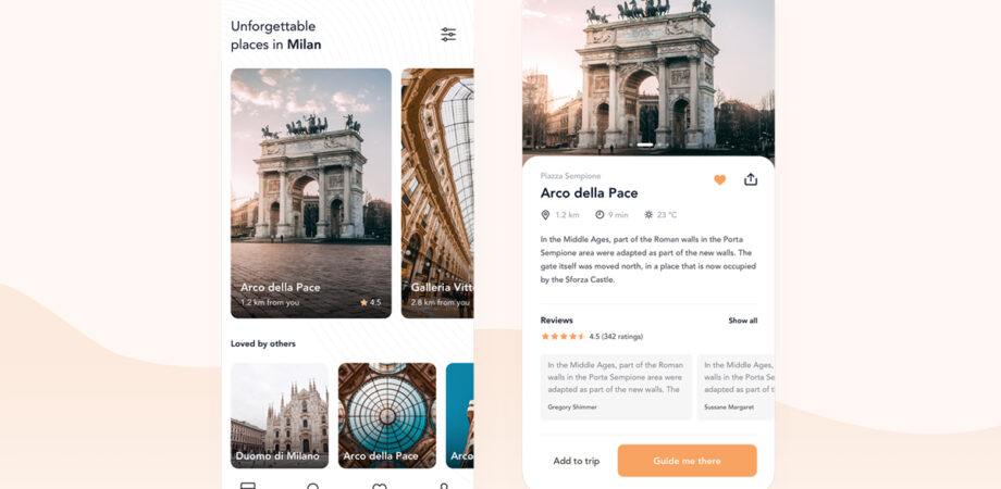 Sightseeing Companion App Free UI Kit