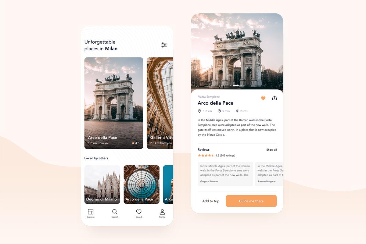Sightseeing Companion App Free UI Kit