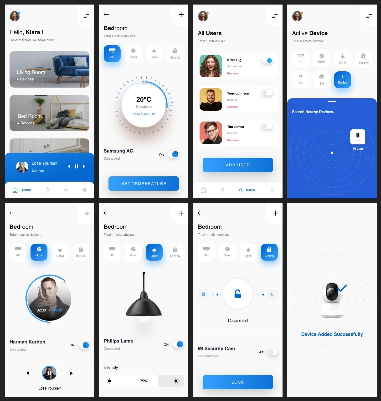 Smart Home Mobile App Free UI Kit