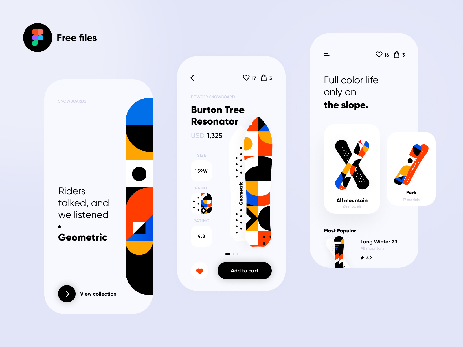 Snowboard Shop App - Free Figma UI Design