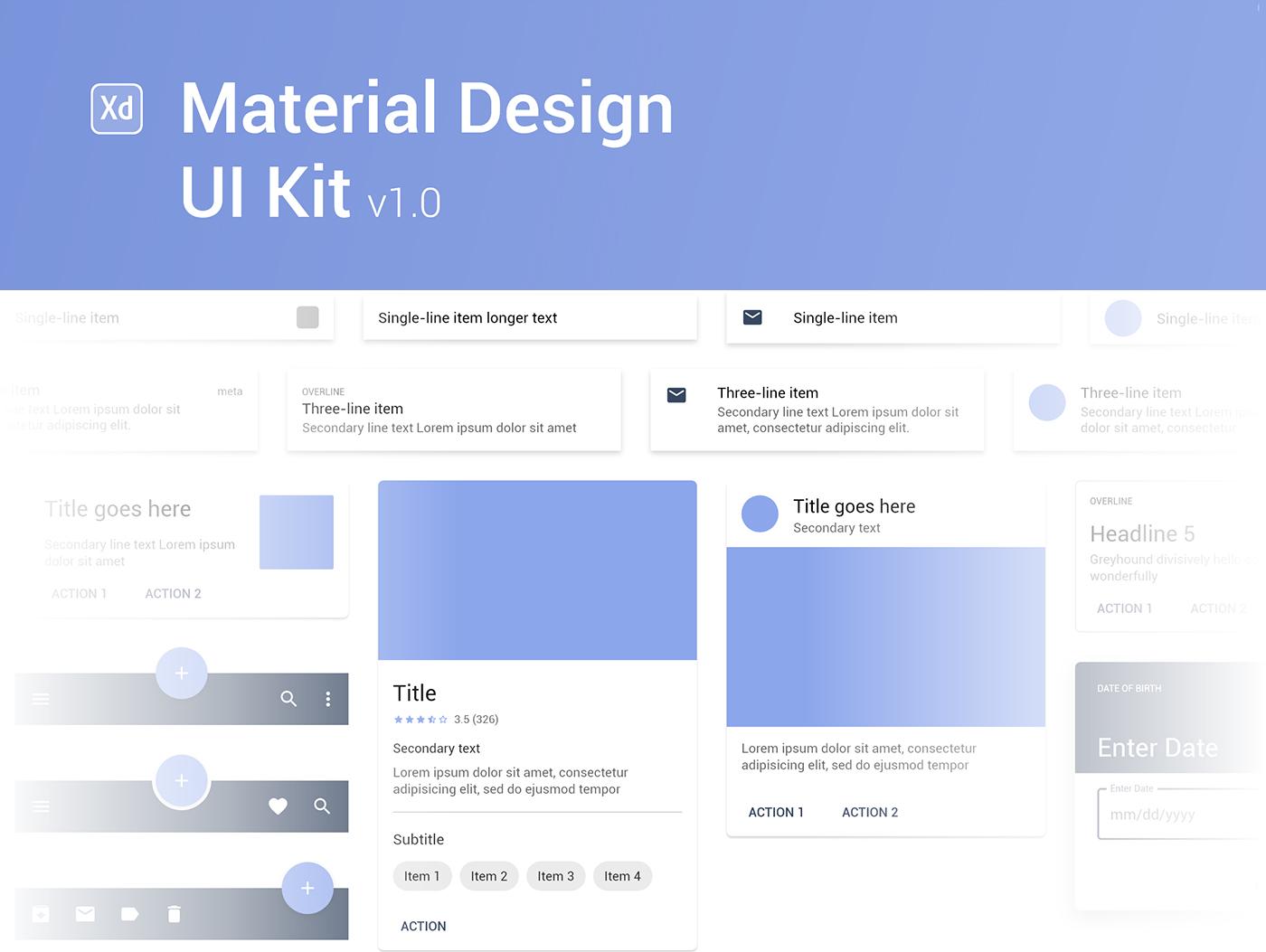 Material Design UI Kit Free XD