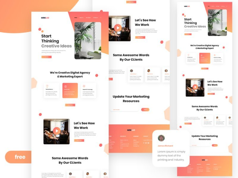Agency Landing Page Free in PSD