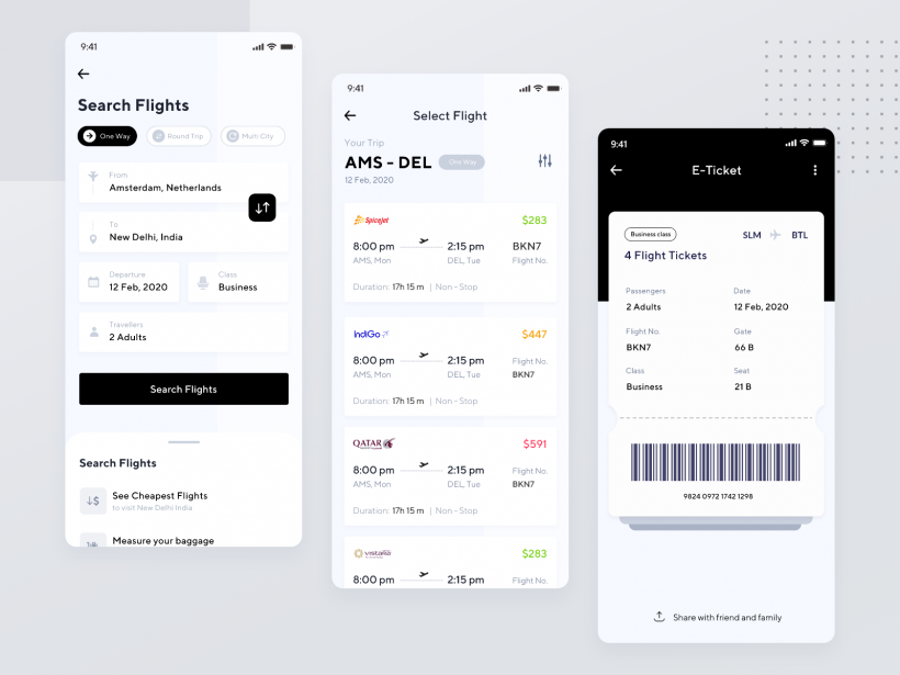 Airline Ticket App Free UI Design