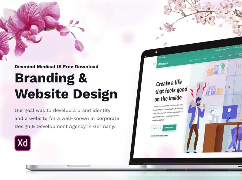 Dev Medical UI Free XD Web Template