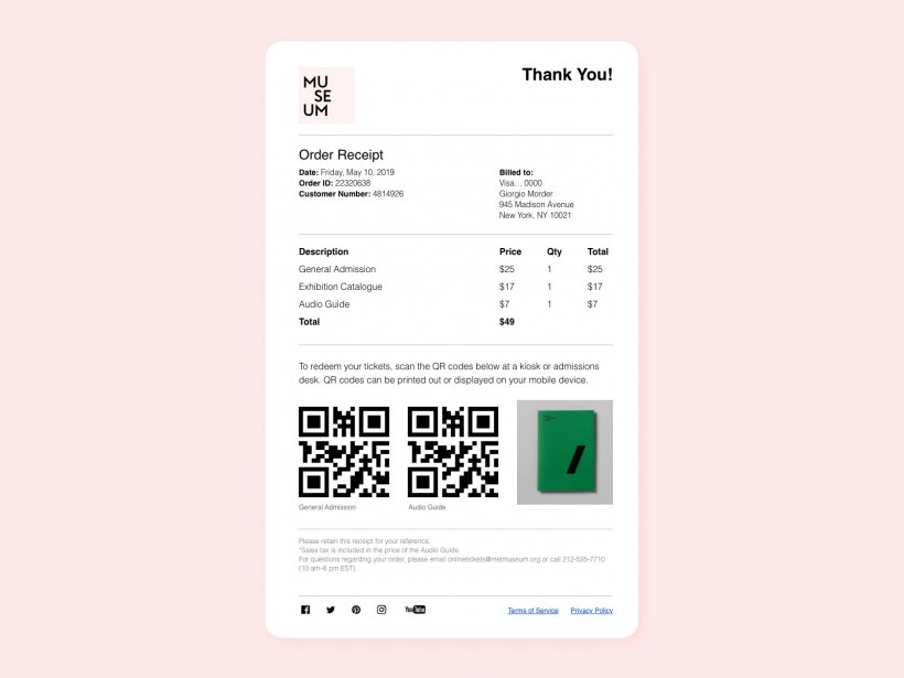 Email Order Receipt Free XD Template