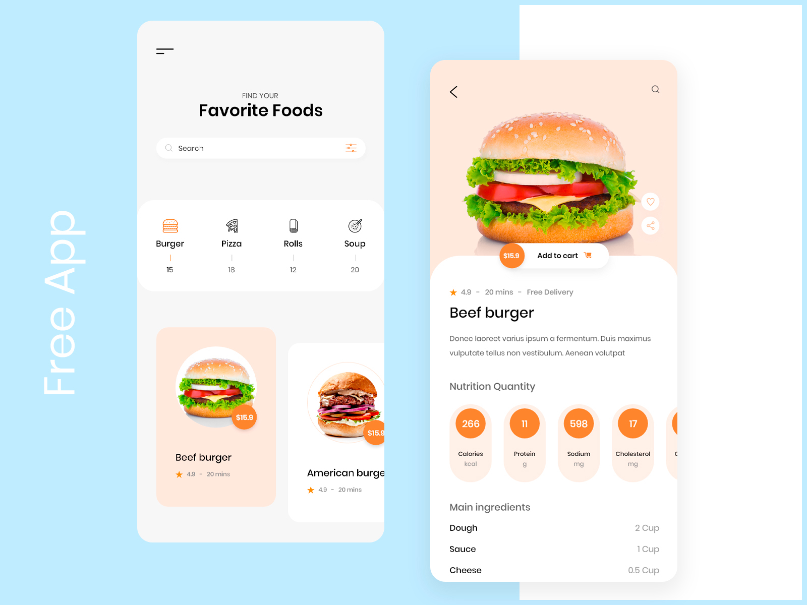 Food Mobile APP Concept Free XD