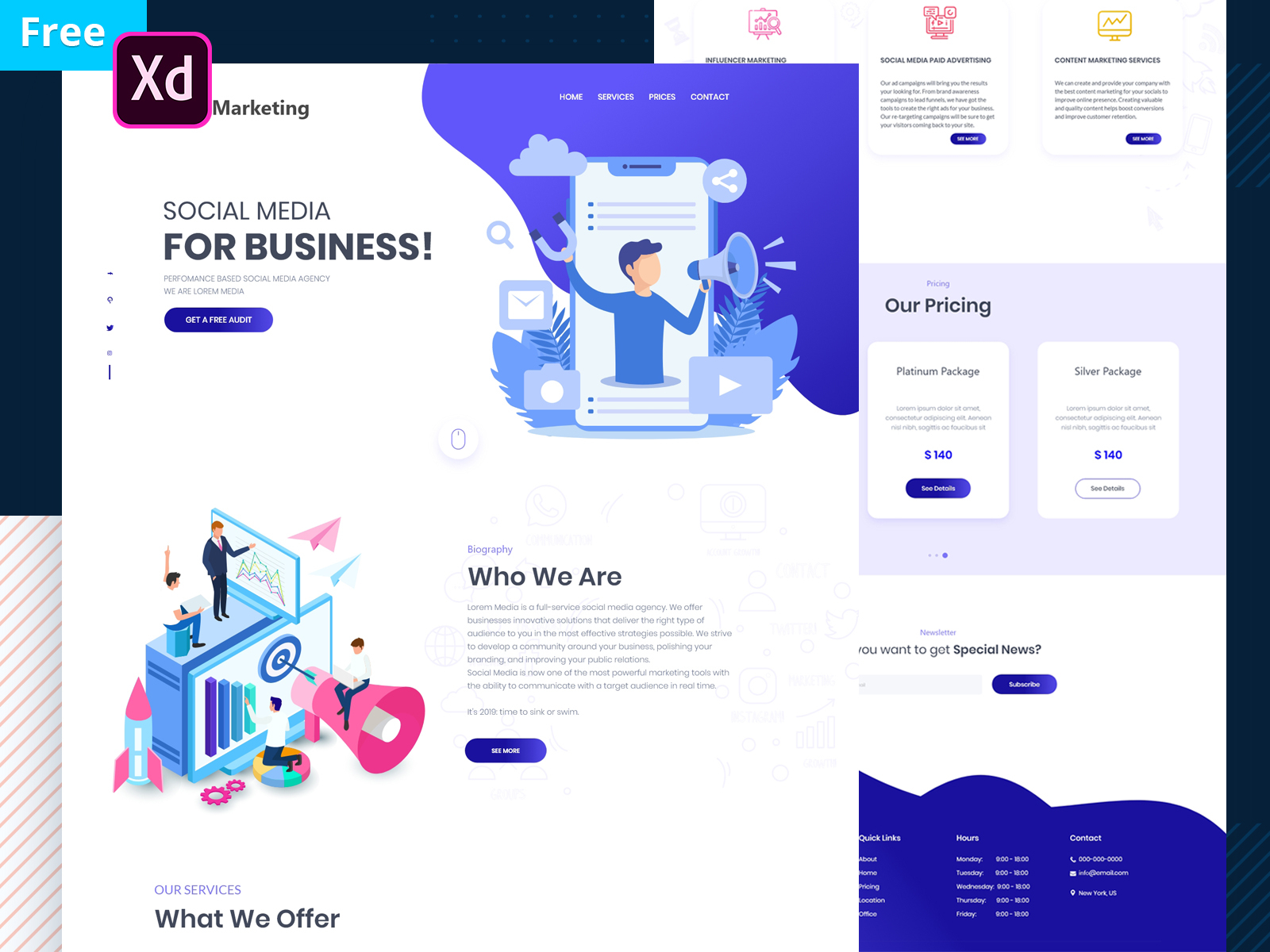 Marketing Free XD Website Template
