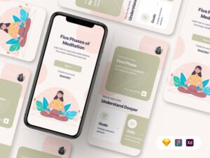 Meditation App UI Free Template in XD & Sketch