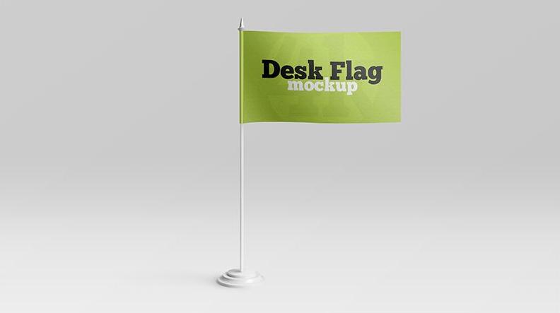 2 Free Desk Flag Mockups