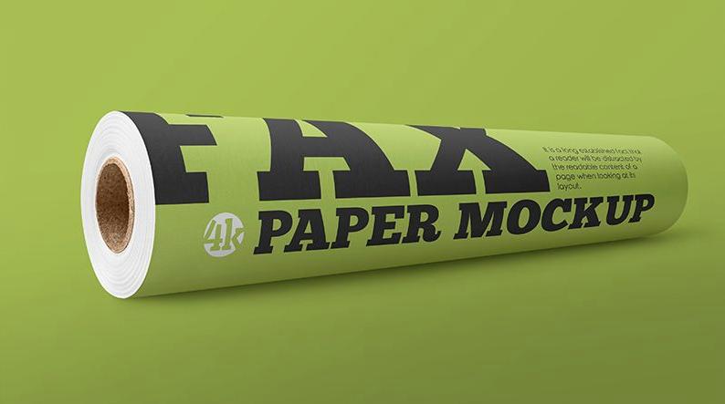 2 Free Matte Fax Paper Roll Mockups