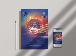 4th of July Celebration Free Flyer Template (PSD)