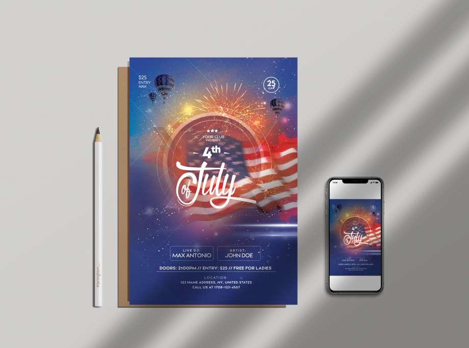 4th of July Celebration Free Flyer Template (PSD)