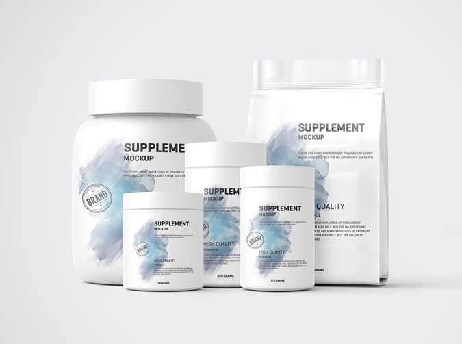 5 Protein Pack and Jar Free Mockup