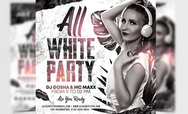 All White Party Free Flyer Template