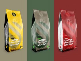 Free Aluminium Coffee Standing Pouch Mockup