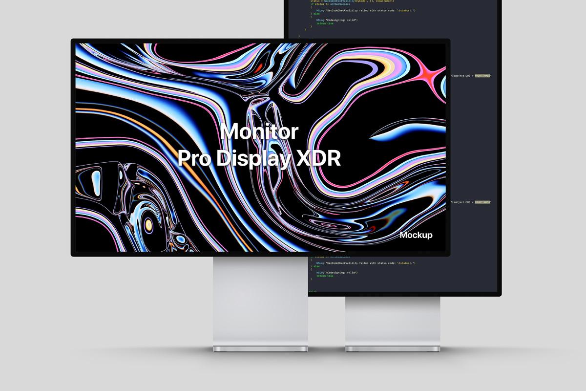 Apple Pro Display XDR (Landscape & Portrait) Free Mockup
