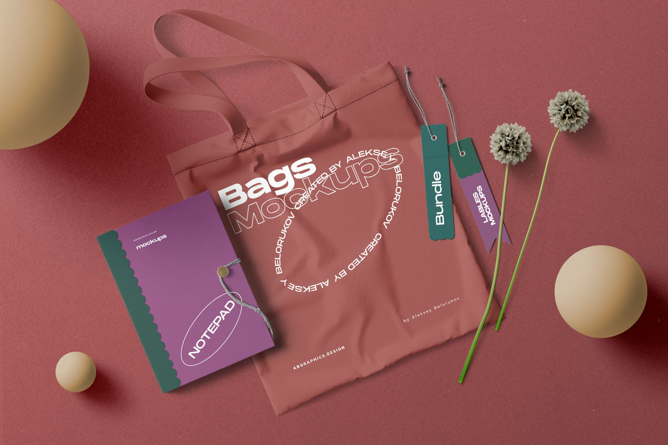 Bag with Notepad & Label Free Mockup