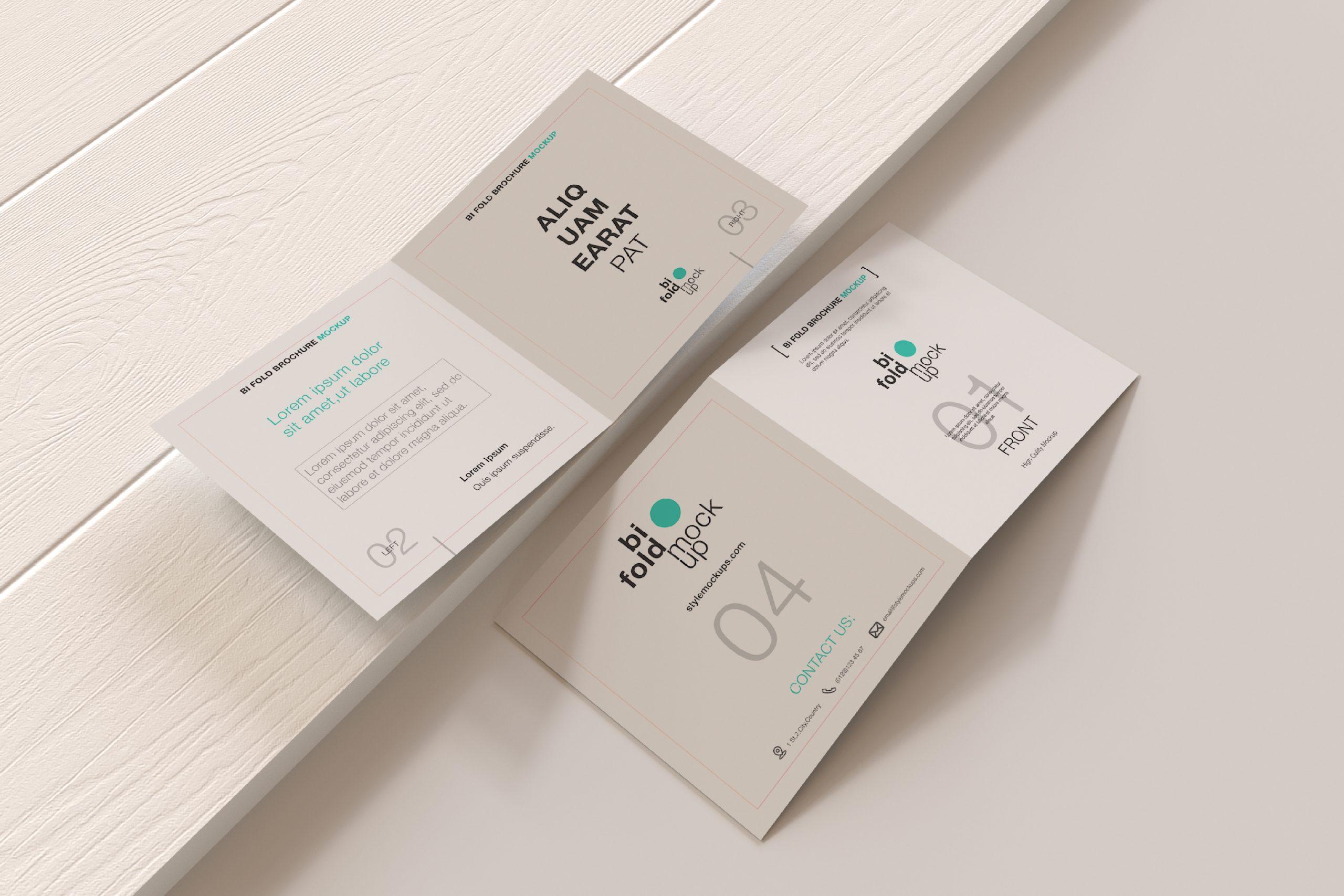 Bi-Fold Square Brochure Free Mockup