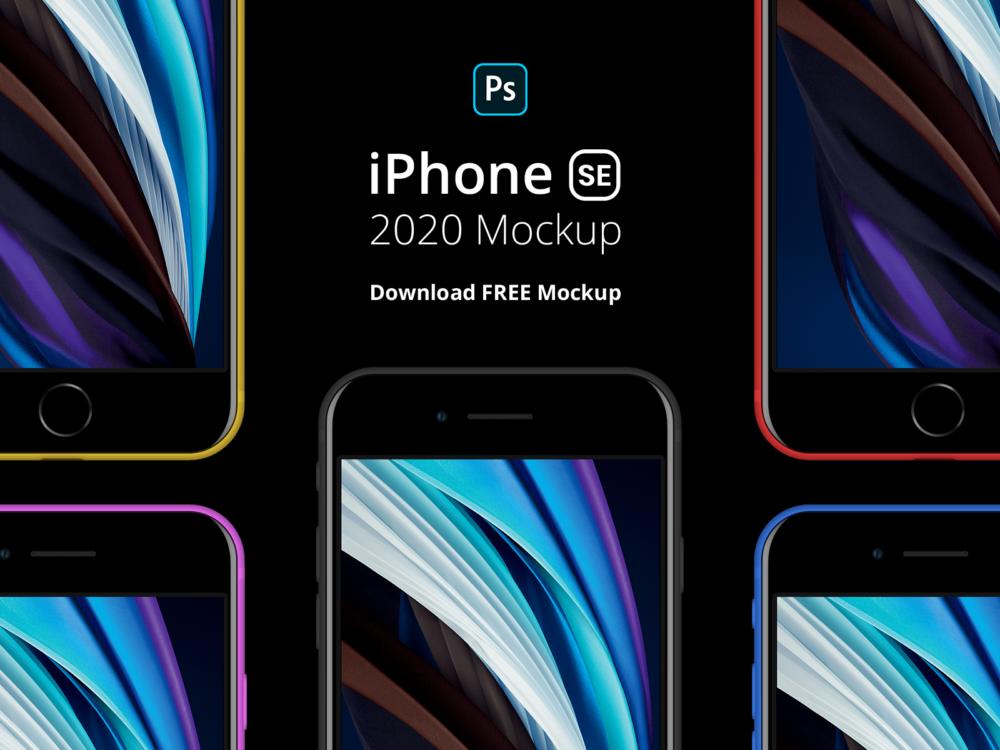 Black iPhone SE Free Mockup