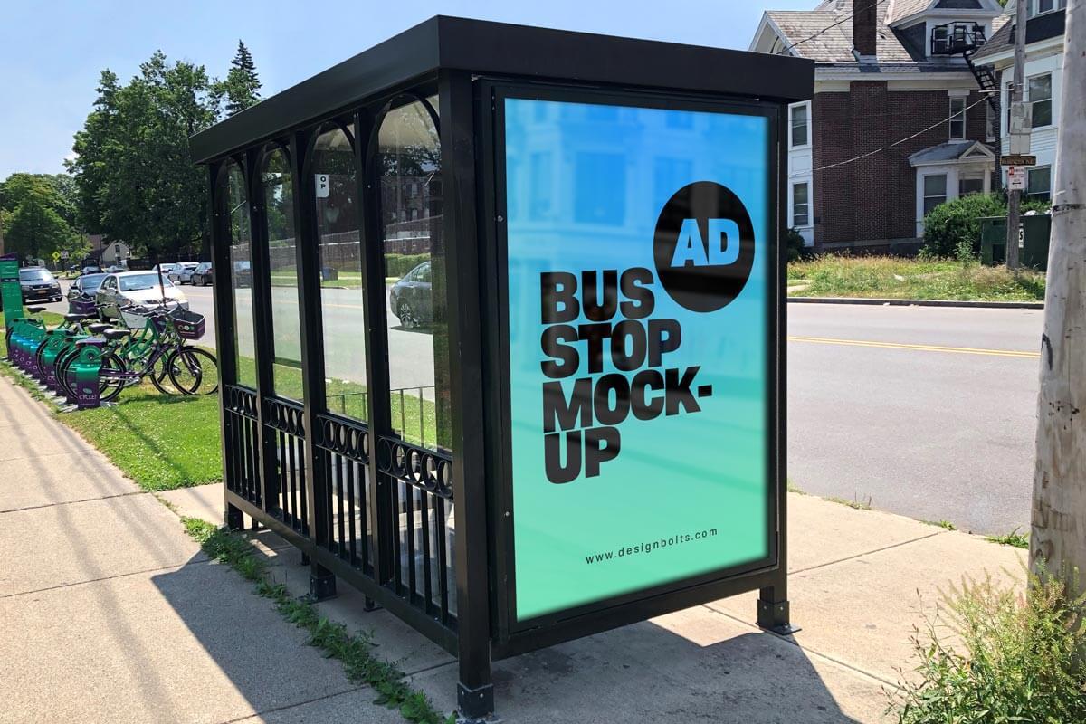 Bus Stop Sidewalk Advertising Signage Free Mockup