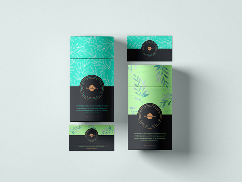 Card With Paper Tube Box Free Mockup