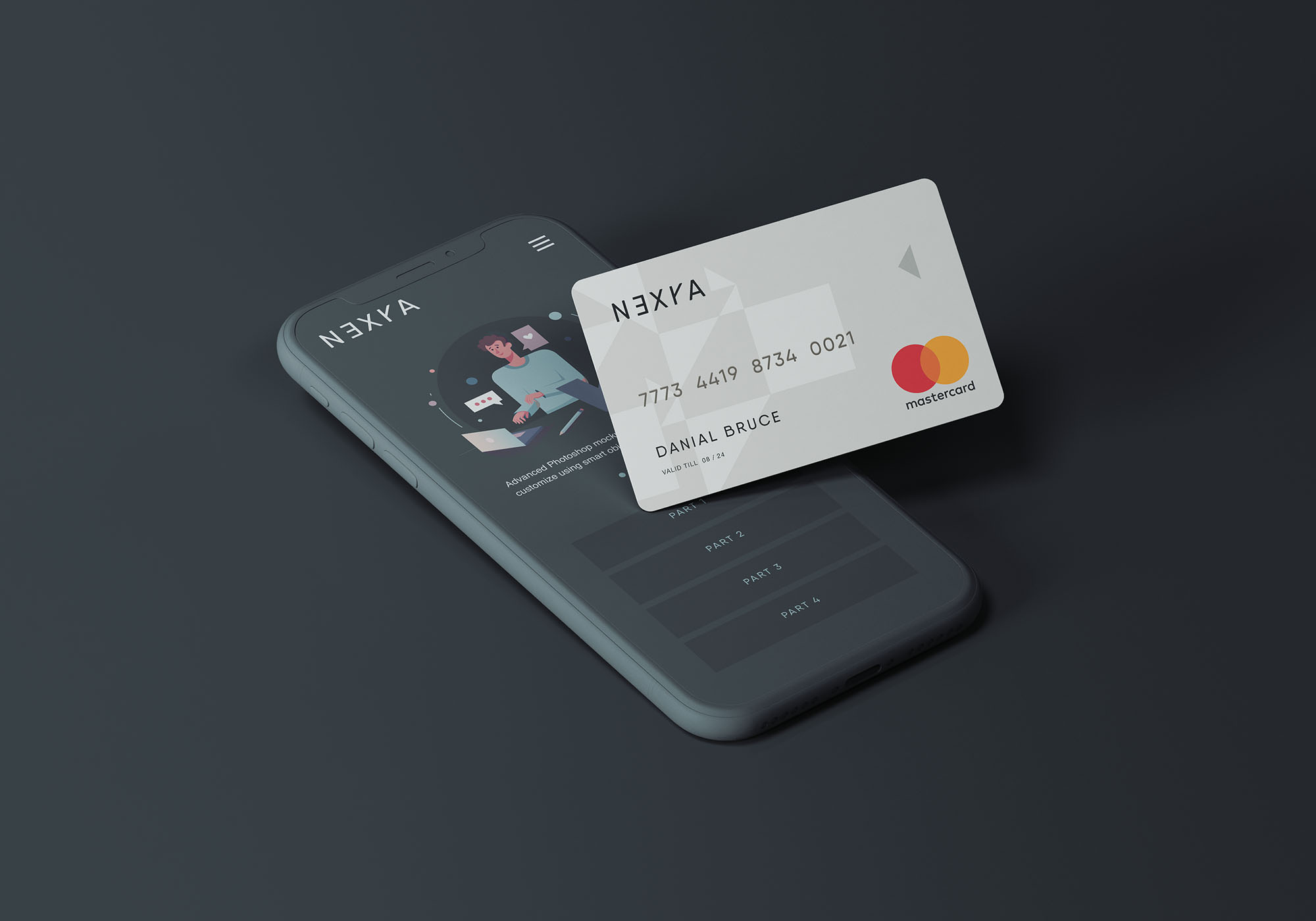 Clay Phone with Credit Card Free Mockup