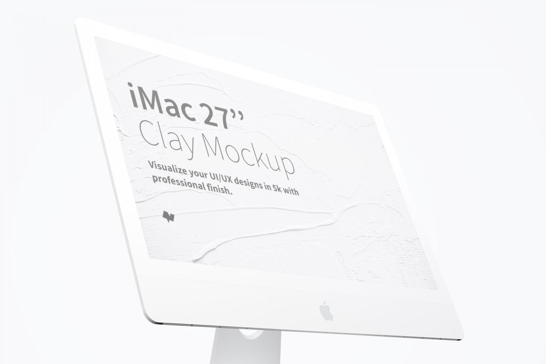 """Clay iMac 27"""" Display Close Up Free Mockup"""