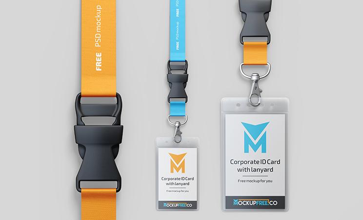 Corporate ID Card With Lanyard Free Mockup
