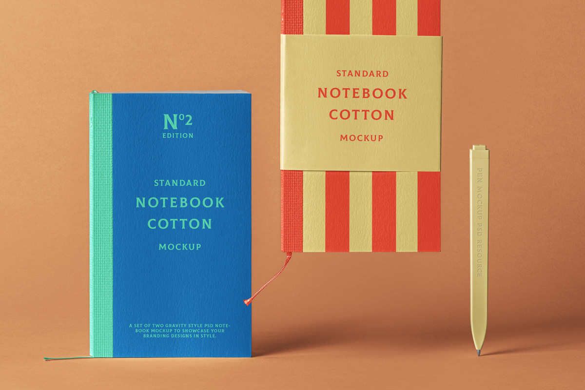 Cotton Notebook with a Pen Free Mockup